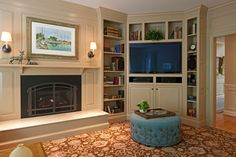 Tv built in family room transitional with corner tv cabinet patterned carpet