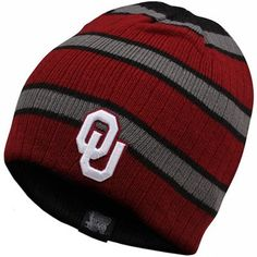 Top of the World OU Sooners Drift Reversible Knit Hat. Striped beanie with embroidered OU on one side, classic black with schooner logo on the other. Watch the Sooner Gift Guide show airings on 11/23 at 10p & 11/25 at 3p on Fox Sports OK & 11/29 at 9p on Fox Sports Southwest for exclusive discounts on this product!