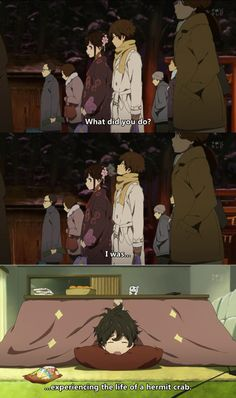 """[Day Anime character you are most similar to: Houtarou Oreki, from """"Hyouka."""" Another favourite quote by him: """"I don't mind socializing, as long as it's not too tiring. """"People who exert great energy in their lives: I salute you! Anime Boys, Manga Anime, Anime Art, Danshi Koukousei No Nichijou, Amaama To Inazuma, Tamako Love Story, Drawn Art, Anime Qoutes, Rocker Girl"""