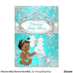 Princess Baby Shower Snowflakes Aqua Ethnic 5x7 Paper Invitation Card
