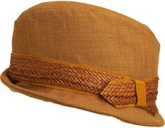 Jennifer Ouellette Panama Trimmed Trilby: Wool trilby with woven panama band at brim.                                               Available in Black and Light Brown                        Wool                        Dry clean