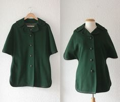 1960s Gare Green Wool Dress Coat with Short Dolman Sleeves // Size M/L on Etsy, $55.30
