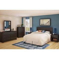 South Shore Vito Full/Queen-Size Headboard in Chocolate-3119270 - The Home Depot