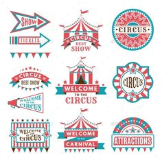 Buy Labels in Retro Style by ONYXprj on GraphicRiver. Labels in retro style. Logos for circus entertainment. Carnival and circus entertainment, vector illustration Carnival Themed Party, Carnival Themes, Vintage Carnival, Vintage Circus, Vintage Retro, Entertainment Logo, Retro Party, Circus Birthday, Free Vector Graphics