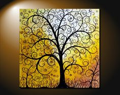 """Sale 25% off Large Abstract Fantasy Tree Painting Contemporary Art Canvas Silhouette 24x24x1.5"""" Golden Color JMichael on Etsy, $97.50"""