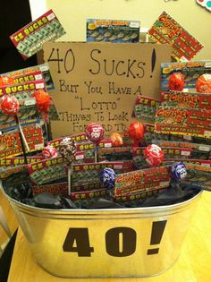 40th Birthday Gift Basket 40thbirthday Thisisforty Partyplanning Diy Partyideas
