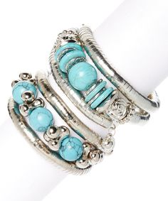 Look at this #zulilyfind! Turquoise & Silvertone Coil Bracelet Set #zulilyfinds
