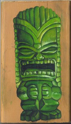 Angry Tiki God, 3.5 inch by 6 inch, in Oil.