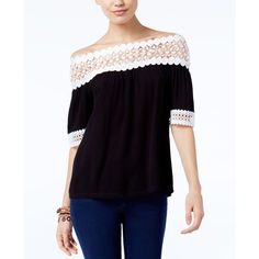 Inc International Concepts Crochet-Trim Off-The-Shoulder Top, ($29) ❤ liked on Polyvore featuring tops, blouses, deep black, inc international concepts tops, off shoulder blouse, crochet trim top, off the shoulder tops and inc international concepts