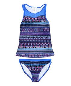 85100bed707fa This Purple  amp  Navy Geometric Tankini Top  amp  Bottoms - Girls is  perfect!