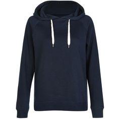 Navy Basic Pull Over Hoodie (€17) ❤ liked on Polyvore featuring tops, hoodies, zip up hoodies, navy hoodie, long sleeve tops, navy hooded sweatshirt and navy top