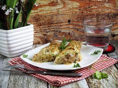 Cukkinis-gombás palacsintatekercs gombás raguvalTegnapról maradt ki natúr sült csirkemell,a fag