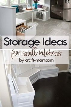 14 Clever Storage Ideas for Small Kitchens - Craft-Mart Clever Storage Ideas for Small Kitchens - breakfast nook storage inside the bench sitting area Small Kitchen Organization, Small Kitchen Storage, Kitchen Cabinet Storage, Home Organization Hacks, Storage Spaces, Small House Storage Ideas, Clever Storage Ideas, Clever Kitchen Ideas, Organizing Tips