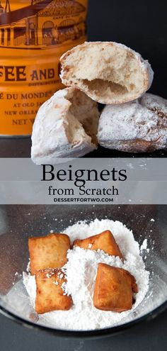 Beignets, a small batch recipe. A taste of Cafe du Monde New Orleans at home! Recipe makes just 8 small beignets in about 90 minutes. Mini Desserts, Cookie Desserts, Holiday Desserts, Just Desserts, Delicious Desserts, Donut Recipes, Baking Recipes, Bread Recipes, Beignets