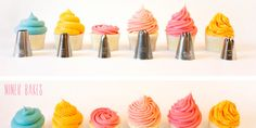 {Cupcake Decorating} Basic Icing/Frosting Piping Techniques: How to frost cupcakes with piping tips | niner bakes