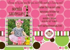 1st birthday girl monkey printable birthday invitations girls mod mod monkey themed birthday idea invitation with photo filmwisefo Image collections