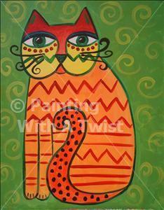 Big Eyed Cat - Murray, UT Painting Class - Painting with a Twist Laurel Burch, Art Fantaisiste, Artist Art, Painting For Kids, Art For Kids, Cats With Big Eyes, Cat Quilt, Cat Crafts, Cat Colors