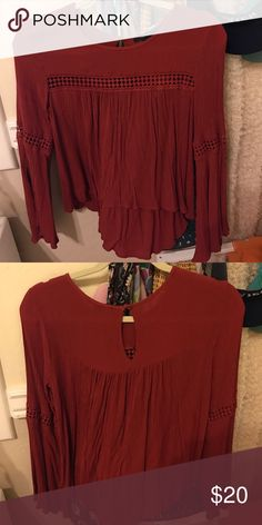 Forever 21 blouse Red blouse from Forever 21 with lace detailing. Worn several times but still in good condition. Size S Forever 21 Tops Blouses