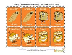 Fun matching card game for children to play and learn about the foods of the grains food group.