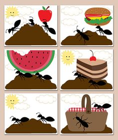 KITCHEN WALL DECOR Art Prints Ant Hill Picnic Basket Summer Party Fun Room Bug Farm Decorations Kids Childrens Bedroom Watermelon Apple #decampstudios