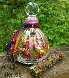 Witch's Sight Spell Bottle and Mugwort Bundle  by MoonlitHerbals, $40.00/neat way to decorate it.