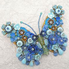 Vintage Stanley Hagler NYC Blue Beaded Wire Work Rhinestones Butterfly Brooch