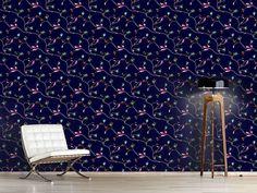 Design #Tapete Rosen Ranken Nacht