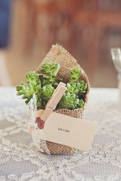 burlap favor ... how sweet would this be for that holly-day hostess gifty? I was thinking teeny, tiny winter herbs tho' any live plant would be cool.
