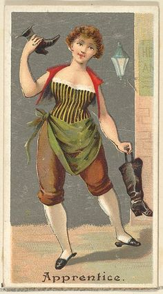 "The ""Occupations for Women"" series of trading cards was issued by Goodwin & Company in 1887 to promote Old Judge and Dogs Head Cigarettes. The Metropolitan Museum of Art owns all 50 cards in the series, as well as three duplicate cards Vintage Photographs, Vintage Images, Sewing Cards, Vintage Labels, Graphics Vintage, Oracle Cards, Wedding Humor, Vintage Postcards, Vintage Advertisements"