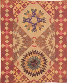 Chips and Whetstones and Starburst Crib Quilt, 1840. Made by a relative of Paul Apgar. New Jersey.