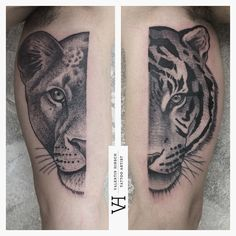 Loved it - dot-work tattoo - lioness and tiger tattoos