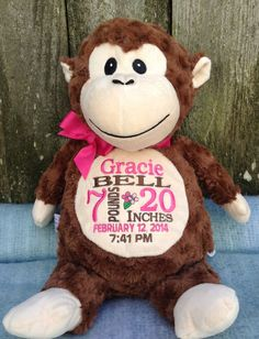 Baby Gift Personalized Baby Gift Monogrammed Monkey Birth Announcement by WorldClassEmbroidery, $39.99