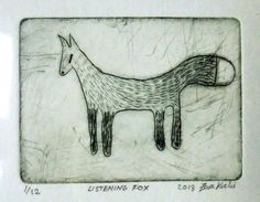 Listening Fox  Original Drypoint Etching by KuchiArt on Etsy, £13.00