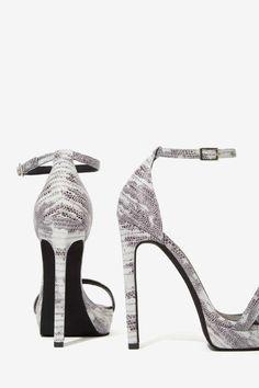 Jeffrey Campbell Finola Leather Python Heel - Gray - Open Toe   Jeffrey Campbell   Shoes