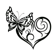 Illustration of Abstract silhouette of decorative butterfly. It is designed to decorate. Maybe for tattoo vector art, clipart and stock vectors. Butterfly Wrist Tattoo, Butterfly Drawing, Borboleta Tattoo, Heart Template, Silhouette Vector, Abstract Photos, Heart Art, Tribal Tattoos, Tatoos