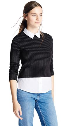 MARKS & SPENCER COLLECTION Pinstriped Mock Double Layer Top T41/7188M.  UK18 EUR46  MRRP: £25.00GBP - AVI Price: £16.00GBP