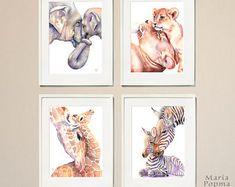 Safari Animal Nursery Wall Art Set of Four | Baby Room Wall Decor | Affordable nursery art | DIGITAL DOWNLOAD | Last Minute Baby Shower Gift