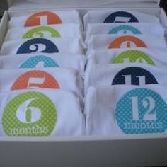 Monthly Onesies {Baby Shower Gift}     Not only is this baby shower gift thoughtful and fun, but it gives the new mommy a great photo reminder.  She can take a quick snapshot of baby wearing a new onesie each month and watch how quickly they change and grow.  You may even want to include a 12-opening frame or ready-made scrapbook page for her to put the pictures in.