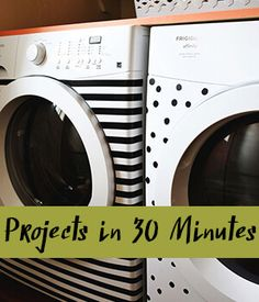 Stripes and Dots! Elsie's Washer & Dryer Makeover - A Beautiful Mess