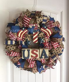 4th of July Wreath, July 4th Wreath, USA Wreath, Memorial Day Wreath, Patriotic Wreath, Flag Wreath, July 4th Decor, Patriotic Decor by CharmingBarnBoutique on Etsy