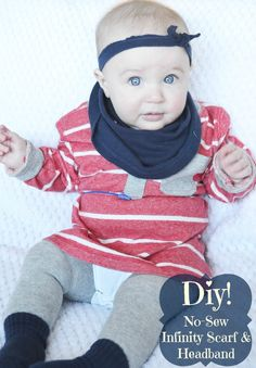 Fawn Over Baby: DIY: Baby Accessories In A Snap: No-sew Infinity Scarf & Headband