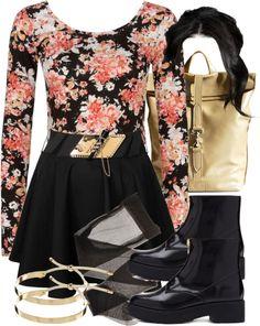 Full Tilt scoop neck crop top / Rare London short black mini skirt, $23 / Pantyhose tight / ATELIERBITS top handle bag, $525 / Pieces adjustable bracelet / Zippered Faux Leather Booties | Forever 21 Canada