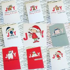 Clean and simple Christmas cards made using My Favourite Things Stamps and Lawn Fawn Stamps. Card design completely inspired by Ardyth Percy Robb.