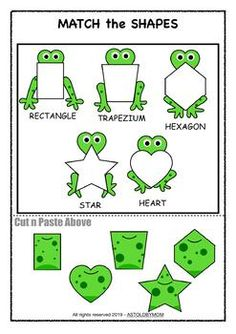 Along with 10 different Individual FROG Shape Posters for your bulletin boards, this Cut & Paste Shape Sorting Math Puzzle Activity will help preschool students, toddlers and kids or homeschoolers to identify and distinguish various basic shapes. Frog Theme Preschool, Preschool Classroom Themes, Frog Activities, Toddler Learning Activities, Sorting Activities, Preschool Activities, Homeschool Kindergarten, Classroom Setup, Maternelle Grande Section