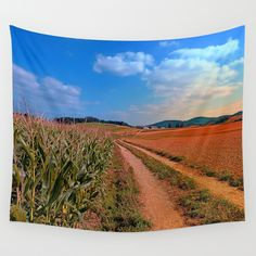 Hiking trail into beautiful scenery II Wall Tapestries, Tapestry, Beautiful Scenery, Hiking Trails, Landscape Photography, Wall Decor, Products, Wall Hangings, Hanging Tapestry