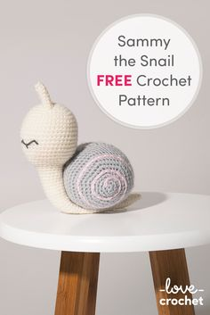 FREE Sammy the snail crochet pattern available at LoveCrochet.Com