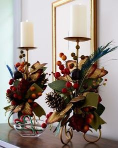 Two Plumage Candleholders - traditional - candles and candle holders - Horchow Merry Christmas To You, All Things Christmas, Christmas Home, Christmas Wreaths, Natural Christmas, Christmas Table Decorations, Christmas Candles, Winter Decorations, Christmas Arrangements