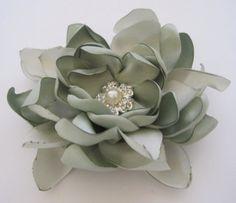 Mint Green Sage Satin Wedding Flower Hair Clip by theraggedyrose, $28.95