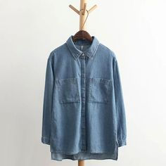 >> Click to Buy << 2017 Spring Pockets Denim Women Blouse Plus Size Jeans Blouses shirt For Women Asymmetry Casual Female Blusas Lady Street Wear #Affiliate