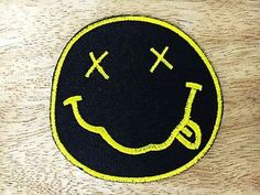NEW Nirvana Band Embroidered Iron ON Patches DIA 3  Black Yellow | eBay